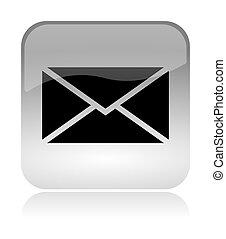 gräns flat, nät, kuvert, email, ikon