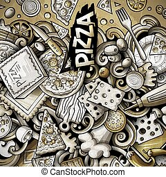 gräns, grafik, tecknad film, pizzeria, frame., rolig, pizza, vektor, doodles