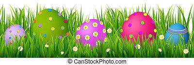 gräns, med, gräs, och, ägg, påsk, kort