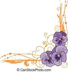 gräns, med, violett, penséer