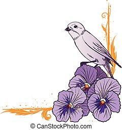 gräns, med, violett, penséer, och, fågel