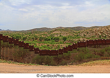gräns, staket, separerande, den, oss, från, mexico, nära,...