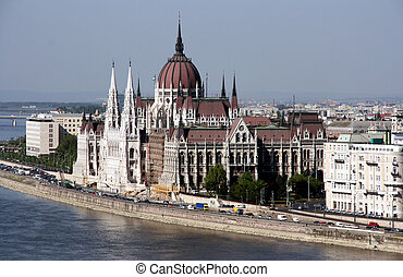 gränsmärke, berömd, parlament, -, ungerska