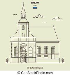 gränsmärke, elizabeth's, parnu, estonia., ikon, kyrka, st.