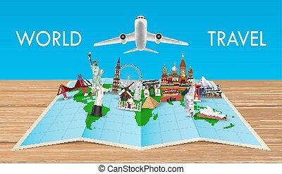 gränsmärke, karta, airplane, flygning, värld