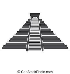 gränsmärke, mexico, pyramid, aztekisk, isolerat, mayan, ikon...