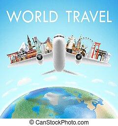 gränsmärke, värld, över, airplane, resa