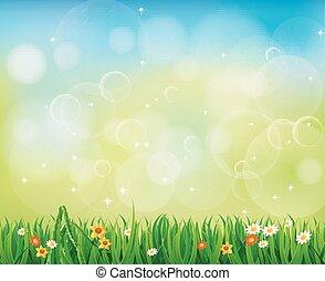 gräs, grön fond