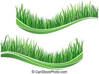 gräs, grön, vågor
