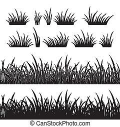 gräs, silhuett, seamless