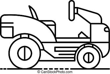 gräsmatta, skissera, stil, slåttermaskin, ikon, traktor