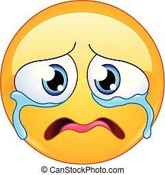 grät, emoticon, trist