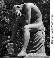 grät, man, staty, som, gravsten, på, monumental, kyrkogård,...