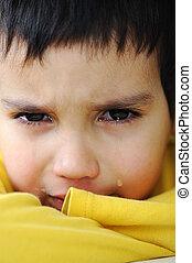 grät, unge, emotionell, scen