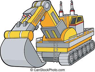 grävare, konstruktion, vektor
