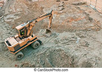 grävmaskin, arbeta på, den, konstruktion sajt