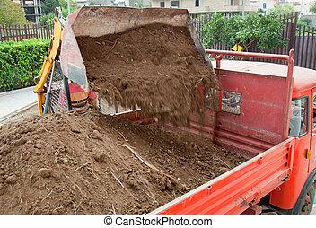 grävmaskin, ladda, lastbil, skott