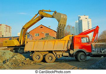 grävmaskin, och, lastbil, flyttning, mull
