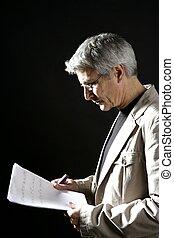 grå, arbete, hår, affärsman, senior, läsning
