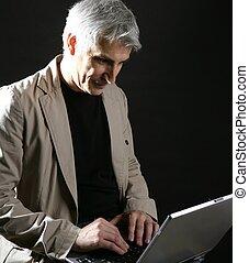 grå, arbete, laptop, hår, affärsman, senior