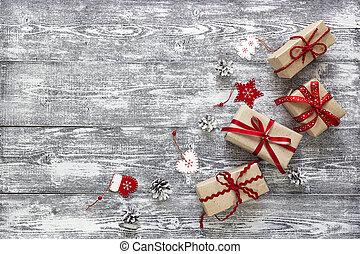grå, band, käglor, gåva, utrymme, trä, text., fura, bakgrund., rutor, utsmyckningar, tabell., jul, röd