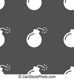 grå, bomb, mönster, skylt., seamless, bakgrund., vektor, ikon
