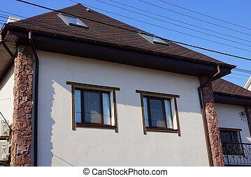 grå, brun, fönstren, hus, två, tak, fasad