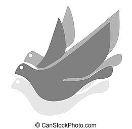 grå, fågel