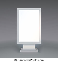 grå fond, digital, annonsering, signage., tom, affischtavla