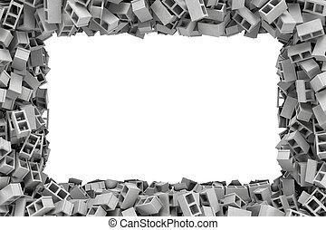 grå, gjord, kvarter, tomrum inrama, middle., rektangulär, framförande, bryn, lögnaktig, slagg, vit, tom