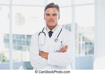 grå haired, läkare