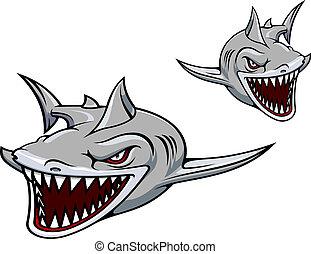 grå, haj, maskot