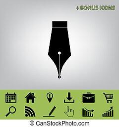 grå, illustration., ikonen, bonus, underteckna, selleri, penna, ena, svart fond, ikon, vector.