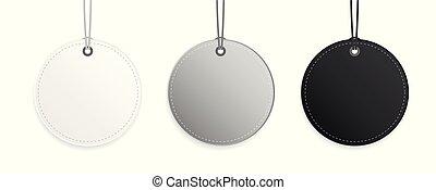 grå, isolerat, kollektion, etikett, etikett, svart, hängande, vit