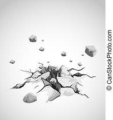 grå, konkret, jord, knäckt, av, mäktig, strejk