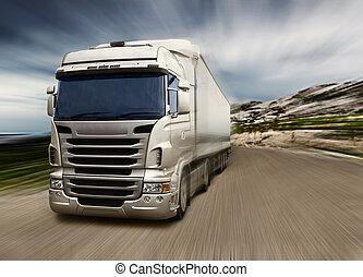 grå, lastbil, på, motorväg