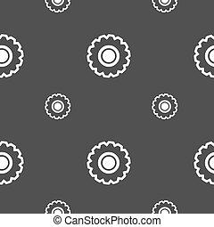grå, mönster, kugghjul, seamless, bakgrund., vektor, skylt., ikon