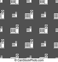grå, mönster, sjukhus, seamless, bakgrund., vektor, skylt., ikon
