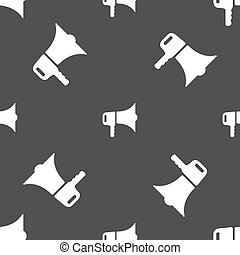 grå, mönster, skylt., seamless, bakgrund., vektor, megafon, ikon