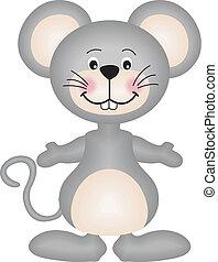 grå, mus