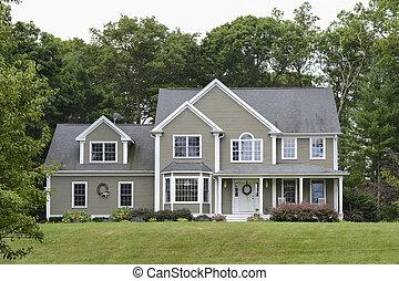 grå, nymodig, hus