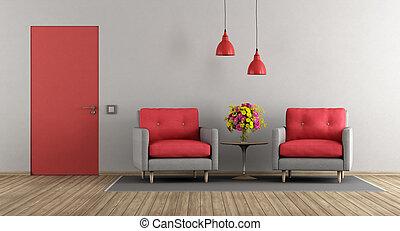 grå, nymodig rum, röd, levande