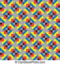 grå, och, färgglatt, fyrkanteer, mönster