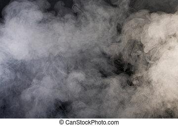grå, röka, med, svart fond
