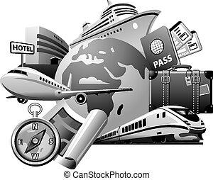 grå, resa, service