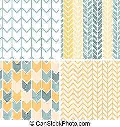 grå, sätta, bakgrunder, gul, fyra, mönster, sparre