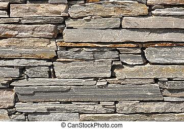 grå, sten, tegelsten vägg