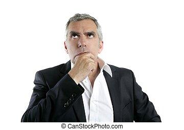 grå, tänkande, ansikte, hår, affärsman, senior, hand