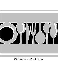 grå, tableware:fork, kniv, tallrik, och, glas