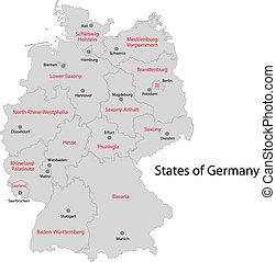 grå, tyskland, karta